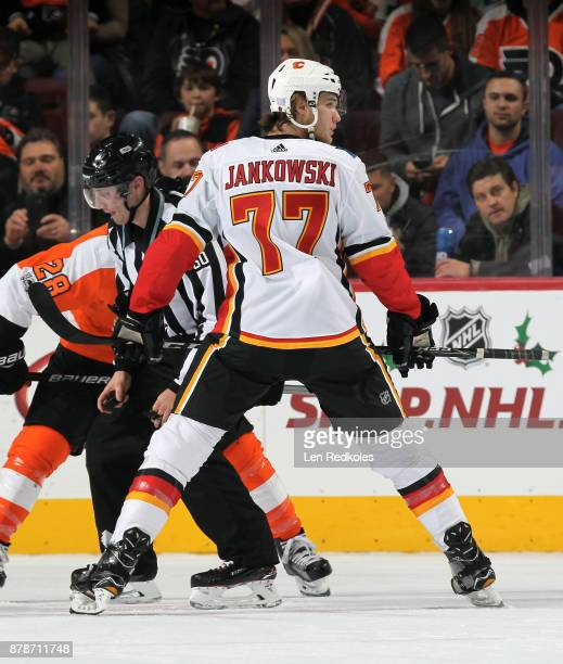 Mark Jankowski of the Calgary Flames prepares to faceoff against the Philadelphia Flyers on November 18 2017 at the Wells Fargo Center in...