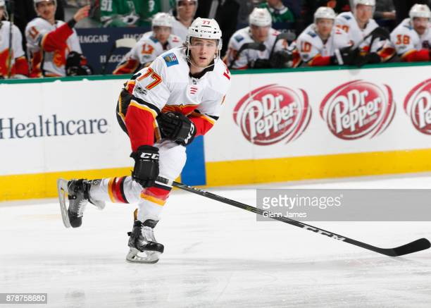 Mark Jankowski of the Calgary Flames skates against the Dallas Stars at the American Airlines Center on November 24 2017 in Dallas Texas