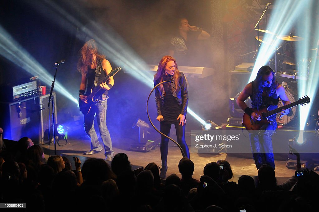 Mark Jansen, Coen Janssen, Simone Simons, Ariën van Weesenbeek, Isaac Delahaye, and Rob van der Loo of Epica performs in concert at Headliners Music Hall on November 23, 2012 in Louisville, Kentucky.