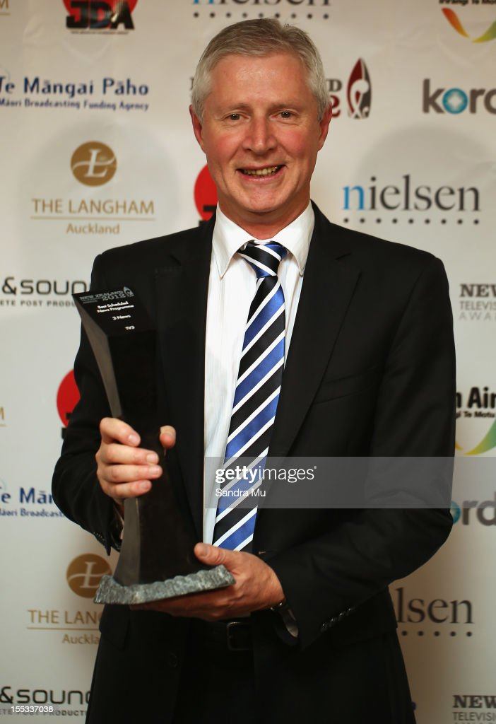 Mark Jennings, Head of TV3 News and Current Affairs poses with his award for Best Scheduled News Programme during the New Zealand Television Awards at the Langham Hotel on November 3, 2012 in Auckland, New Zealand.