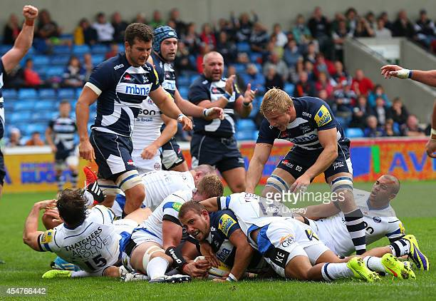 Mark Jennings of Sale Sharks dives over the line to score a try during the Aviva Premiership match between Sale Sharks and Bath at AJ Bell Stadium on...