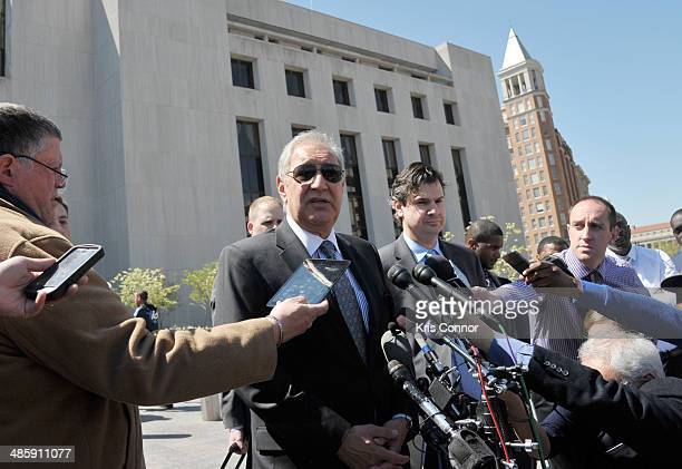 Mark John Geragos speaks with press outside of the H Carl Moultrie 1 Courthouse after it was announced the start of Chris Brown's assault trial is to...