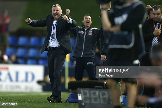 Mark Jones coach of Newcastle Jets celebrates the win over Adelaide during the round 11 ALeague match between the Newcastle Jets and Adelaide United...
