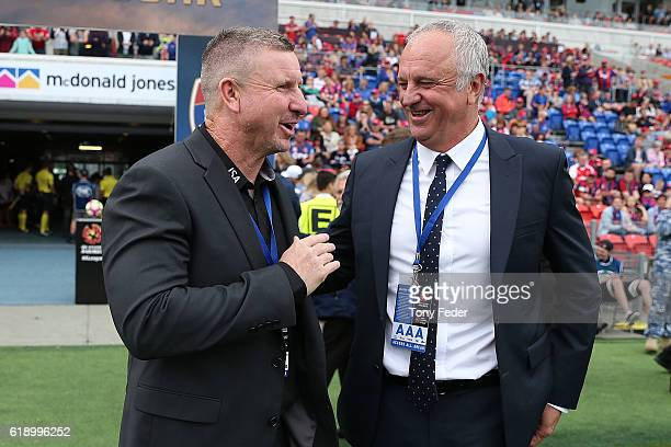 Mark Jones coach of the Jets and Graham Arnold coach of Sydney FC during the round four ALeague match between the Newcastle jets and Sydney FC at...