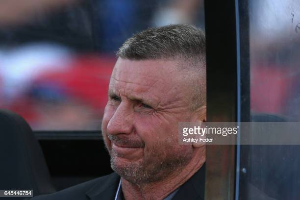 Mark Jones coach of the Jets looks on during the round 21 ALeague match between the Newcastle Jets and the Central Coast Mariners at McDonald Jones...