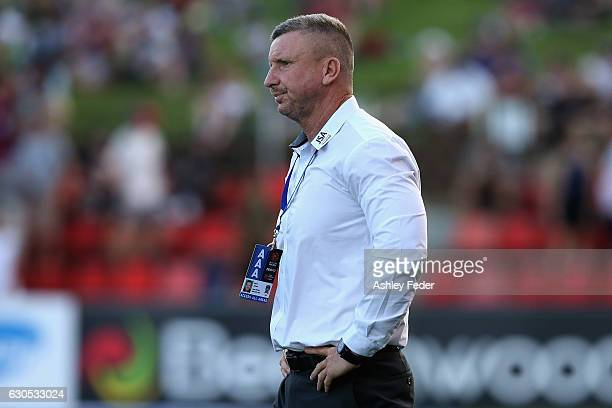 Mark Jones coach of the Jets reacts to the draw during the round 12 ALeague match between the Newcastle Jets and the Wellington Phoenix at McDonald...