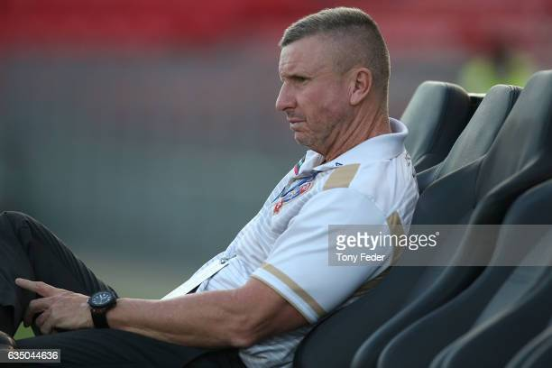 Mark Jones coach of the Newcastle Jets during the round 19 ALeague match between the Newcastle Jets and Melbourne Victory at McDonald Jones Stadium...
