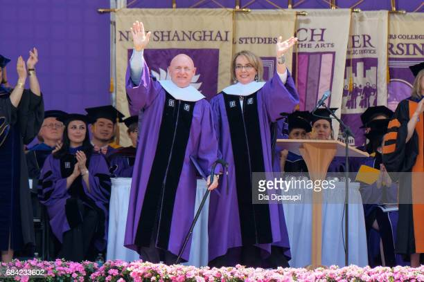 Mark Kelly and Gabrielle Giffords receive honorary doctorate degrees during the New York University 2017 Commencement at Yankee Stadium on May 17...