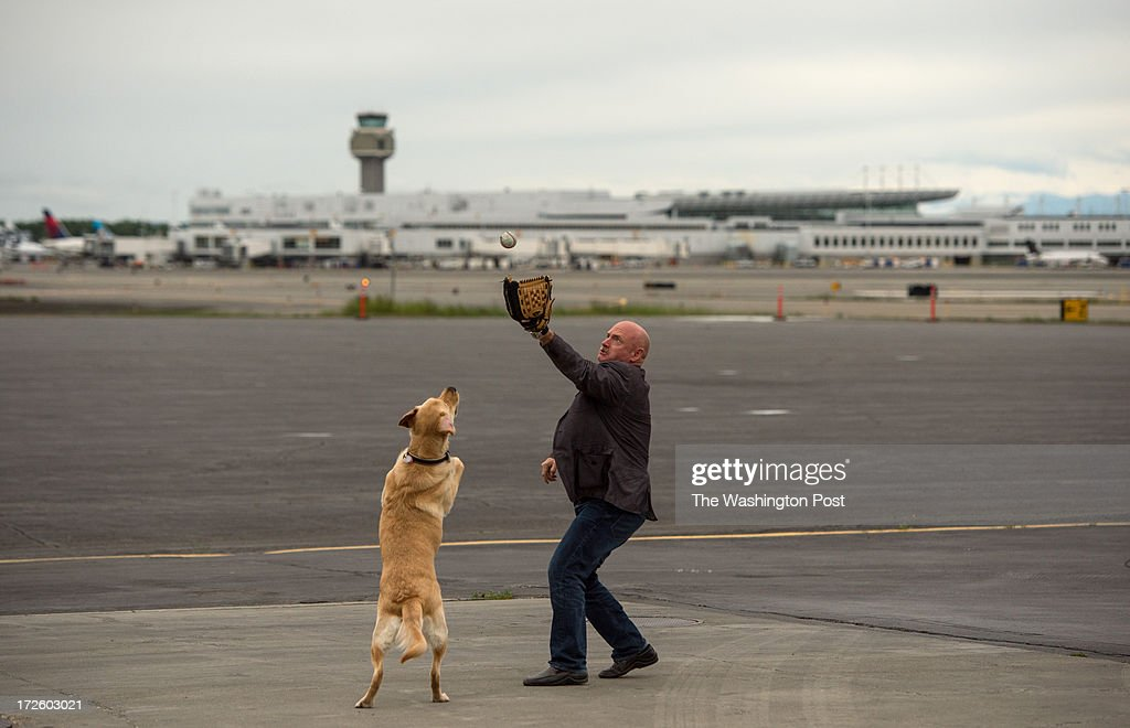 Mark Kelly practices his throw after arriving at Ted Stevens International Airport in Anchorage, Alaska, on their Americans for Responsible Solutions tour on Monday, July 1, 2013. Kelly is scheduled to throw out the first pitch in New Hampshire, one of the stops on the 7 states tour. Nelson, former Congresswoman Gabrielle Giffords service dog runs after it.