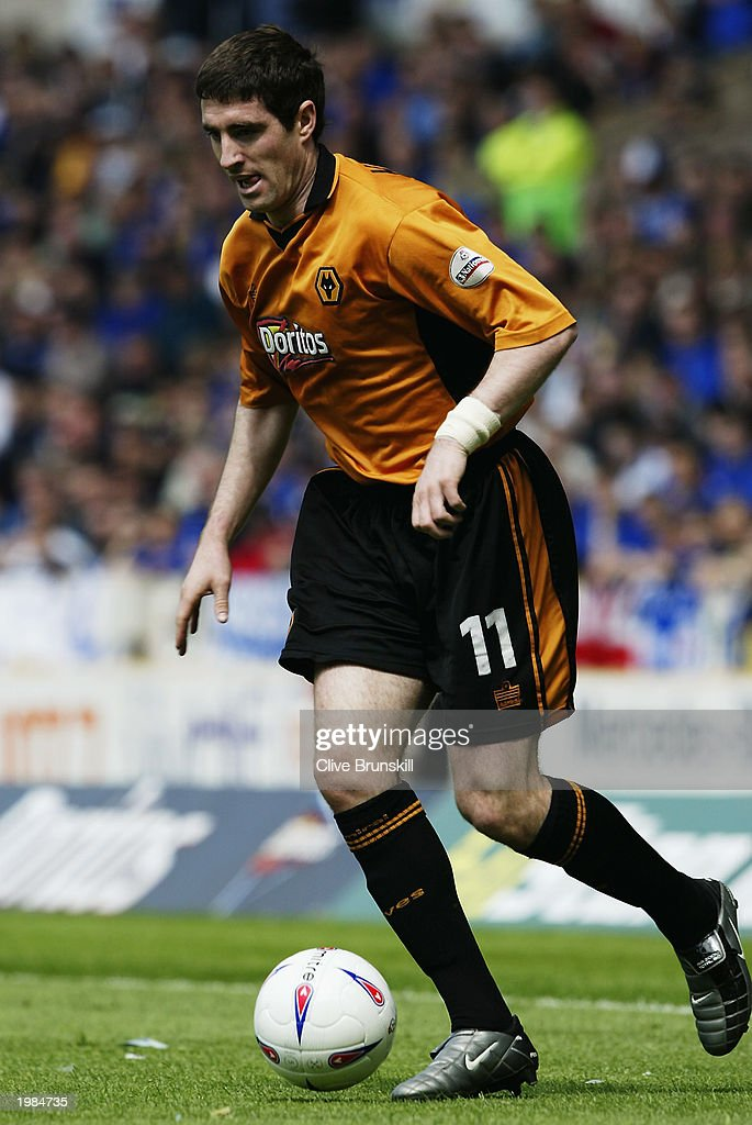 Mark Kennedy of Wolverhampton Wanderers runs with the ball during the Nationwide First Division match between Wolverhampton Wanderers and Leicester City held on May 4, 2003 at the Molineux Stadium in Wolverhampton, England. The match ended in a 1-1 draw.