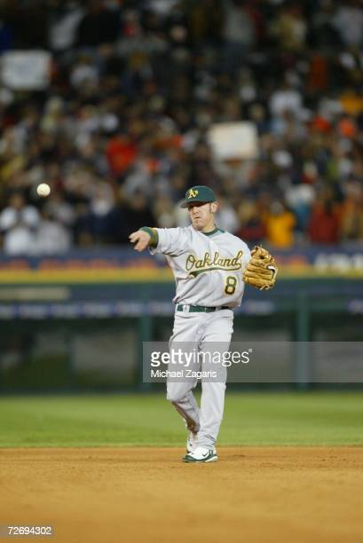 Mark Kiger of the Oakland Athletics fields during Game Four of the American League Championship Series against the Detroit Tigers on October 14 2006...
