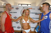 Mark King Lauren Pope and Quinten Hann during Hann vs King 'Pot Whack' Pre Fight WeighIn at Dagenham Boxing Club in London Great Britain