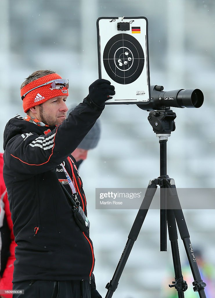 Mark Kirchner, coach of Germany looks on during an offical training session during the IBU Biathlon World Championships at Vysocina Arena on February 8, 2013 in Nove Mesto na Morave, Czech Republic.