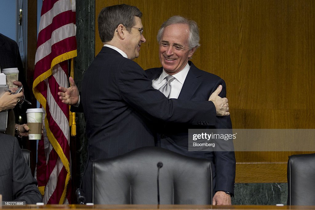 <a gi-track='captionPersonalityLinkClicked' href=/galleries/search?phrase=Mark+Kirk&family=editorial&specificpeople=2707485 ng-click='$event.stopPropagation()'>Mark Kirk</a>, a Republican from Illinois, left, greets Senator <a gi-track='captionPersonalityLinkClicked' href=/galleries/search?phrase=Bob+Corker&family=editorial&specificpeople=3986296 ng-click='$event.stopPropagation()'>Bob Corker</a>, a Republican from Tennessee, before a Senate Banking Committee hearing with Ben S. Bernanke, chairman of the U.S. Federal Reserve, not pictured, in Washington, D.C., U.S., on Tuesday, Feb. 26, 2013. Bernanke defended the central bank's unprecedented asset purchases, saying they are supporting the expansion with little risk of inflation or asset-price bubbles. Photographer: Andrew Harrer/Bloomberg via Getty Images