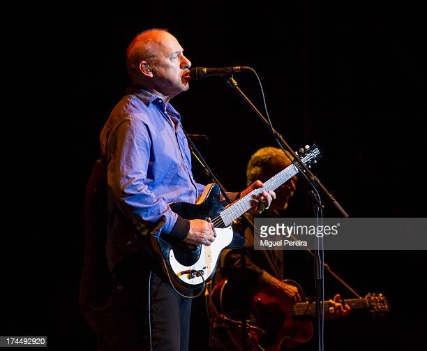 Mark Knopfler performs on stage in Madrid on July 26 2013 in Madrid Spain