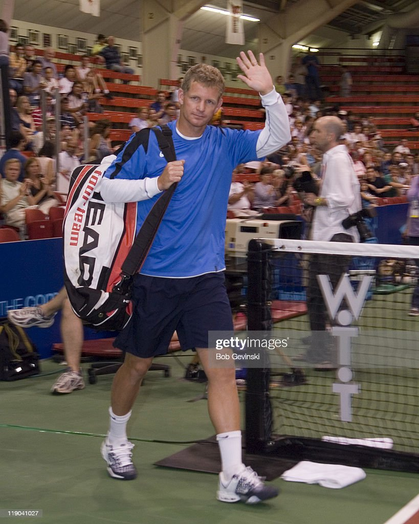 Mark Knowles being introduced during the WTT match between the Sacramento Capitals and Boston Lobsters, July 9, 2006 at Harvard's Bright Arena.