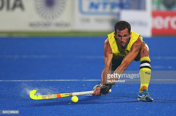 Mark Knowles captain of Australia controls the ball during the final match between Australia and Belgium on day ten of The Hero Hockey League World...