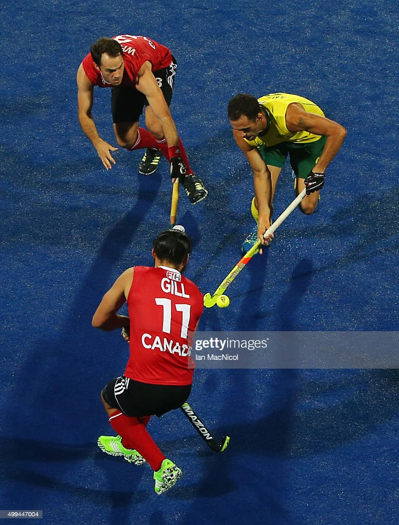 Mark Knowles captain of Australia runs with the ball during the match between Australlia and Canada on day five of The Hero Hockey League World Final at the Sardar Vallabh Bhai Patel International Hockey Stadium on December 01, 2015 in Raipur, India.