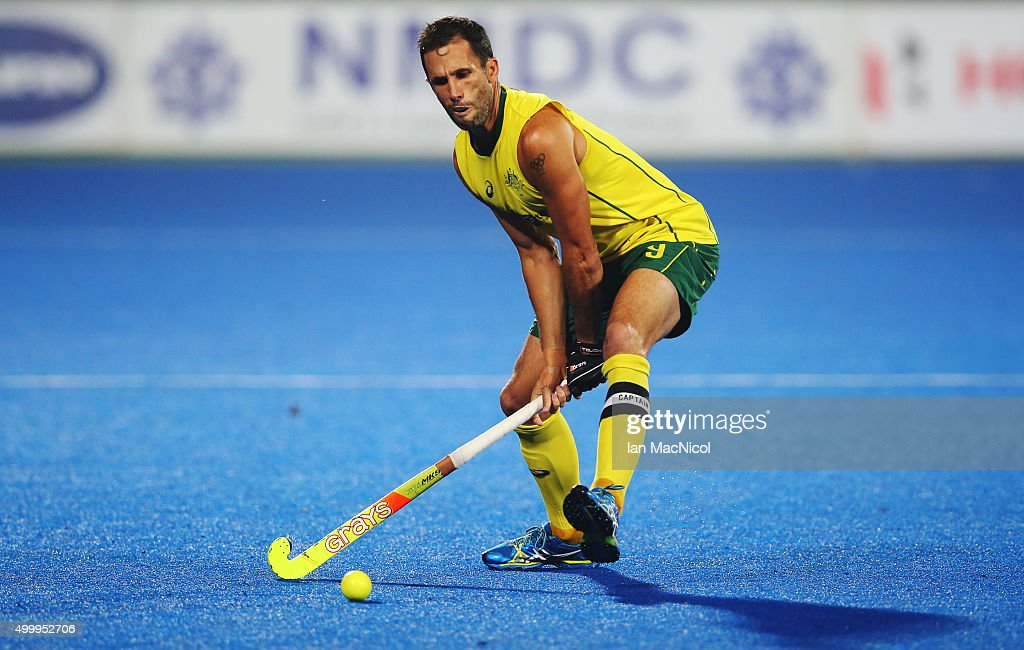 Mark Knowles captain of Australia runs with the ball during the match between Australia and Netherlands on day eight of The Hero Hockey League World Final at the Sardar Vallabh Bhai Patel International Hockey Stadium on December 04, 2015 in Raipur, India.