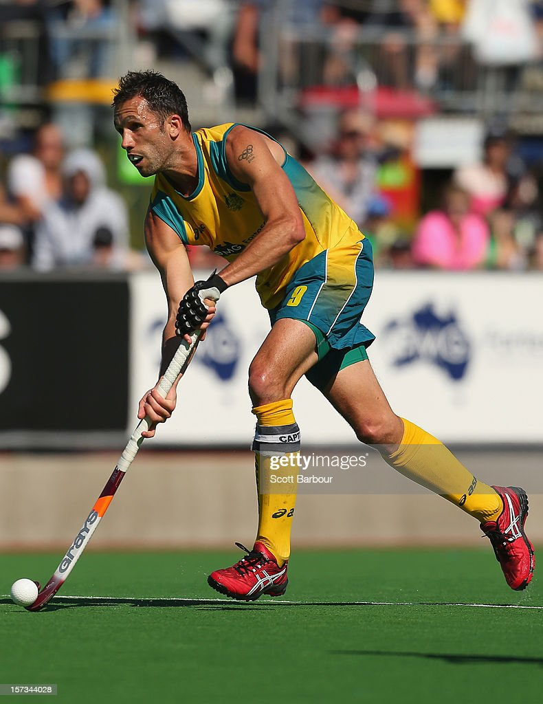 <a gi-track='captionPersonalityLinkClicked' href=/galleries/search?phrase=Mark+Knowles&family=editorial&specificpeople=217246 ng-click='$event.stopPropagation()'>Mark Knowles</a> of Australia controls the ball during the match between Australia and the Netherlands during day two of the Champions Trophy on December 2, 2012 in Melbourne, Australia.