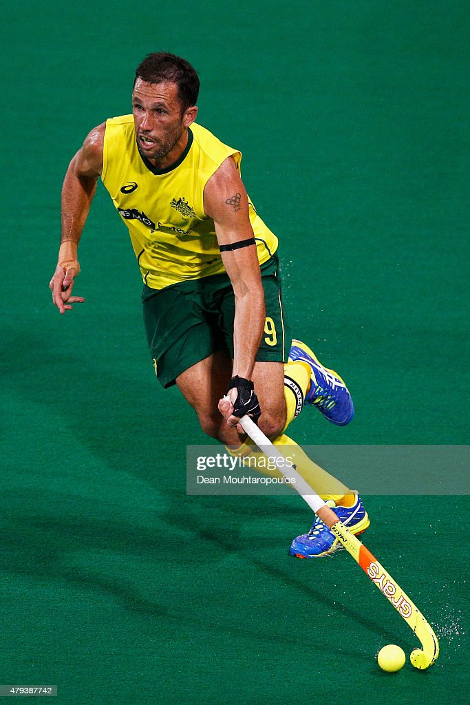 <a gi-track='captionPersonalityLinkClicked' href=/galleries/search?phrase=Mark+Knowles&family=editorial&specificpeople=217246 ng-click='$event.stopPropagation()'>Mark Knowles</a> of Australia in action during the Fintro Hockey World League Semi-Final match between Australia and Great Britain held at KHC Dragons Gemeentepark Stadium on July 3, 2015 in Brasschaat, Belgium.