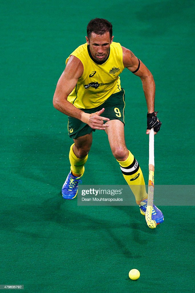 Mark Knowles of Australia in action during the Fintro Hockey World League Semi-Final match between Australia and Great Britain held at KHC Dragons Gemeentepark Stadium on July 3, 2015 in Brasschaat, Belgium.