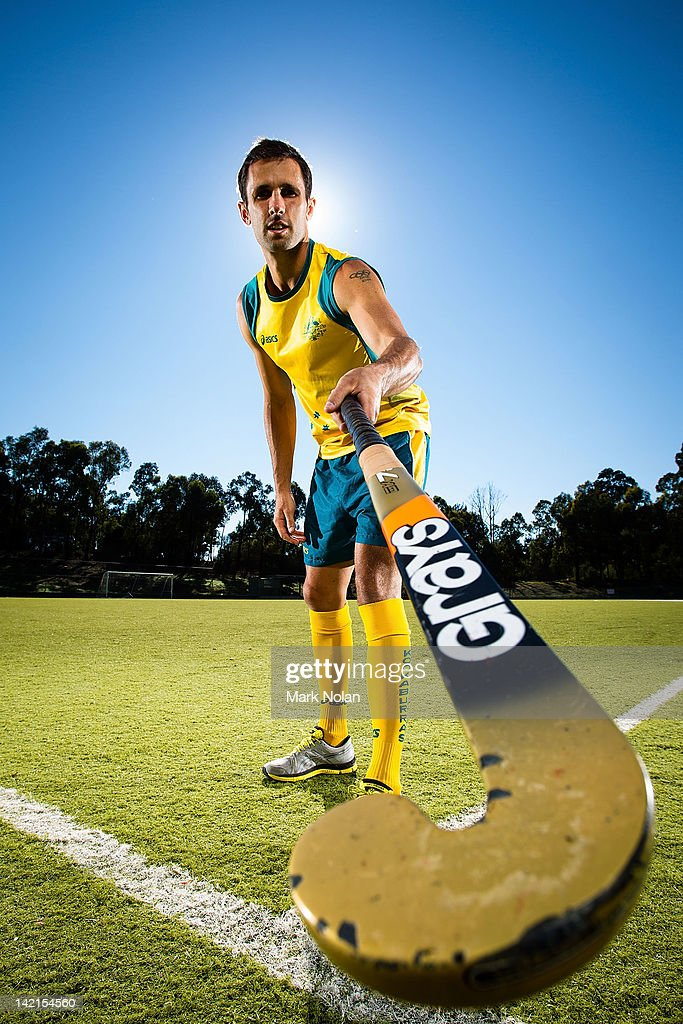 <a gi-track='captionPersonalityLinkClicked' href=/galleries/search?phrase=Mark+Knowles&family=editorial&specificpeople=217246 ng-click='$event.stopPropagation()'>Mark Knowles</a> poses during an Australian Men's Kookaburras hockey portrait session at AIS on March 30, 2012 in Canberra, Australia.