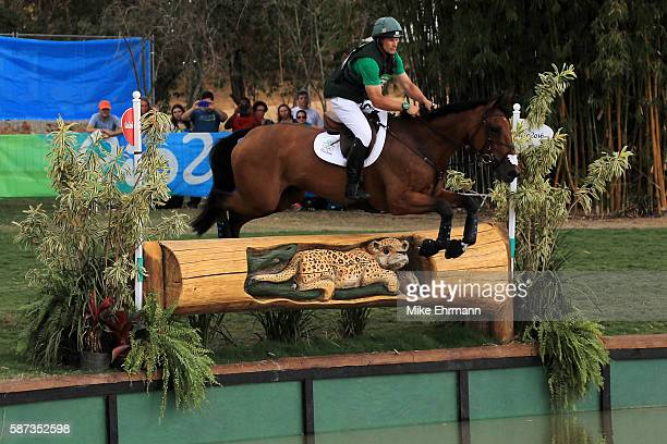 Mark Kyle of Ireland riding Jemilla clears a jump during the Cross Country Eventing on Day 3 of the Rio 2016 Olympic Games at the Olympic Equestrian...