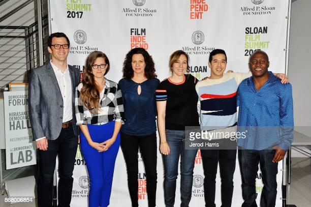 Mark Lafferty Angelina Burnett Alison Tatlock Lorraine Ali Andrew Law and Shawn Boxe attend Sloan Film Summit 2017 Day 3 on October 29 2017 in Los...