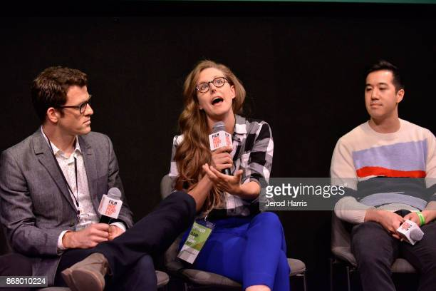 Mark Lafferty Angelina Burnett and Andrew Law attend Sloan Film Summit 2017 Day 3 on October 29 2017 in Los Angeles California