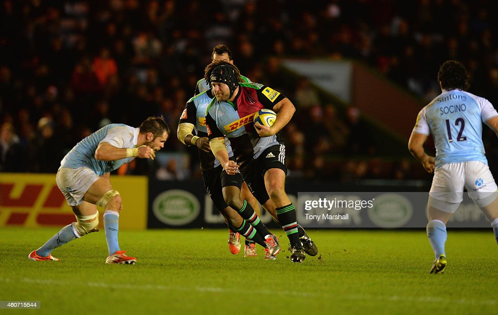 Mark Lambert of Harlequins charges forward during the Aviva Premiership match between Harlequins and Newcastle Falcons at the Twickenham Stoop on December 20, 2014 in London, England.
