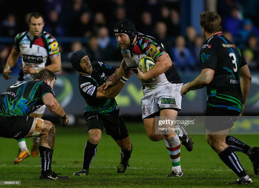 Mark Lambert of Harlequins charges upfield during the LV= Cup match between Ospreys and Harlequins at Brewery Field on February 3, 2013 in Bridgend, Wales.