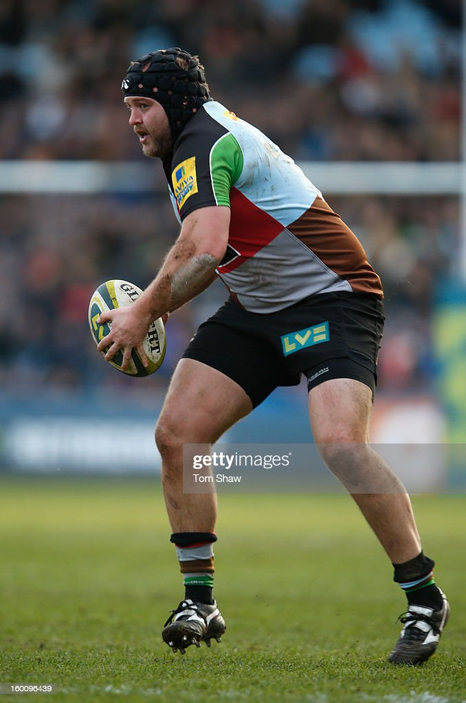 Mark Lambert of Quins in action during the LV= Cup match between Harlequins and London Welsh at Twickenham Stoop on January 26, 2013 in London, England.