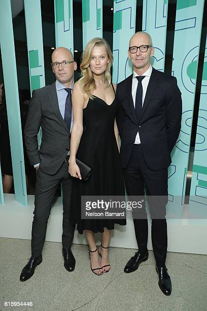 Mark Langer CEO HUGO BOSS Model Toni Garrn and Ingo Wilts CBO HUGO BOSS attend HUGO BOSS and GUGGENHEIM celebration of the 20th Anniversary of the...