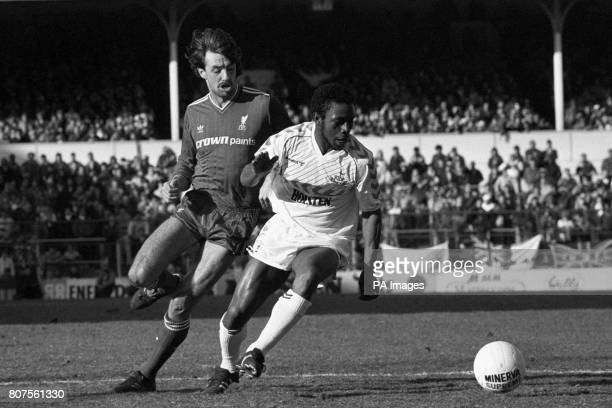 Mark Lawrenson Liverpool and Danny Thomas Tottenham Hotspur battle for the ball