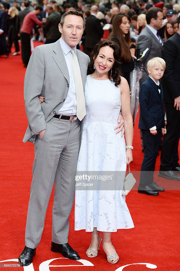 Mark Leadbetter and Samantha Spiro attend the European film premiere 'Me Before You' at The Curzon Mayfair on May 25, 2016 in London, England.
