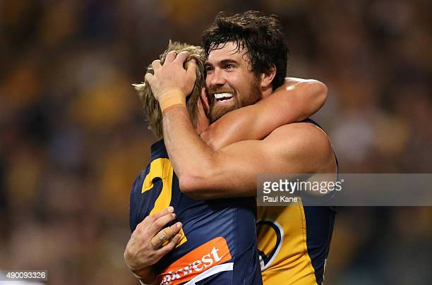 Mark LeCras and Josh Kennedy of the Eagles celebrate after winning the AFL Second Preliminary Final match between the West Coast Eagles and the North...