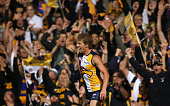 Mark LeCras of the Eagles celebrates a goal during the AFL Second Preliminary Final match between the West Coast Eagles and the North Melbourne...