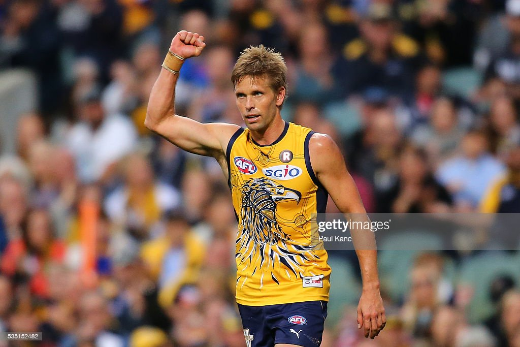 <a gi-track='captionPersonalityLinkClicked' href=/galleries/search?phrase=Mark+LeCras&family=editorial&specificpeople=747453 ng-click='$event.stopPropagation()'>Mark LeCras</a> of the Eagles celebrates a goal during the round 10 AFL match between the West Coast Eagles and the Gold Coast Suns at Domain Stadium on May 29, 2016 in Perth, Australia.