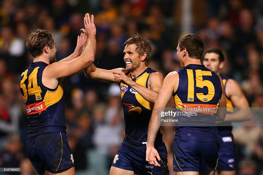 Mark LeCras of the Eagles celebrates a goal during the round 15 AFL match between the West Coast Eagles and the Essendon Bombers at Domain Stadium on June 30, 2016 in Perth, Australia.