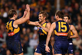Mark LeCras of the Eagles celebrates a goal during the round 15 AFL match between the West Coast Eagles and the Essendon Bombers at Domain Stadium on...