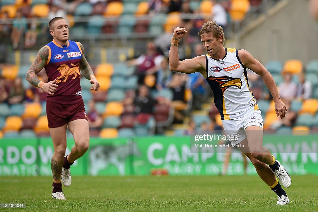 Mark LeCras of the Eagles celebrates kicking a goal during the round 13 AFL match between the Brisbane Lions and the West Coast Eagles at The Gabba on June 18, 2016 in Brisbane, Australia.
