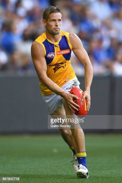 Mark LeCras of the Eagles kicks during the round one AFL match between the North Melbourne Kangaroos and the West Coast Eagles at Etihad Stadium on...