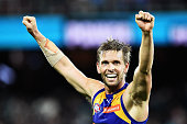 Mark LeCras of the Eagles reacts after the final siren during the round six AFL match between the Port Adelaide Power and the West Coast Eagles at...