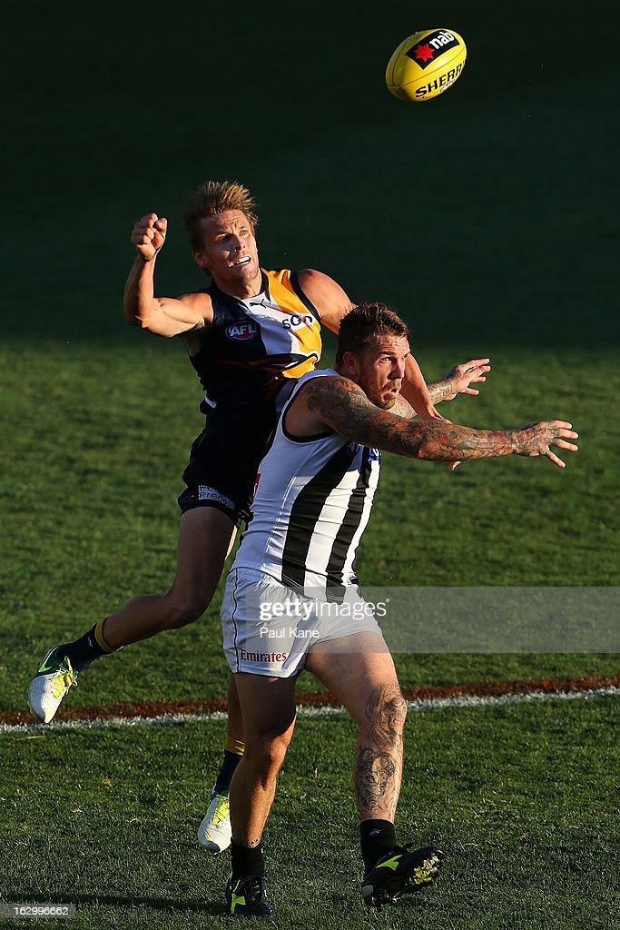 Mark LeCras of the Eagles spoils the mark for Dane Swan of the Magpies during the round two AFL NAB Cup match between the West Coast Eagles and the Collingwood Magpies at Patersons Stadium on March 3, 2013 in Perth, Australia.