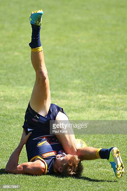 Mark LeCras of the Eagles warms up during a West Coast Eagles AFL training session at Patersons Stadium on February 13 2014 in Perth Australia
