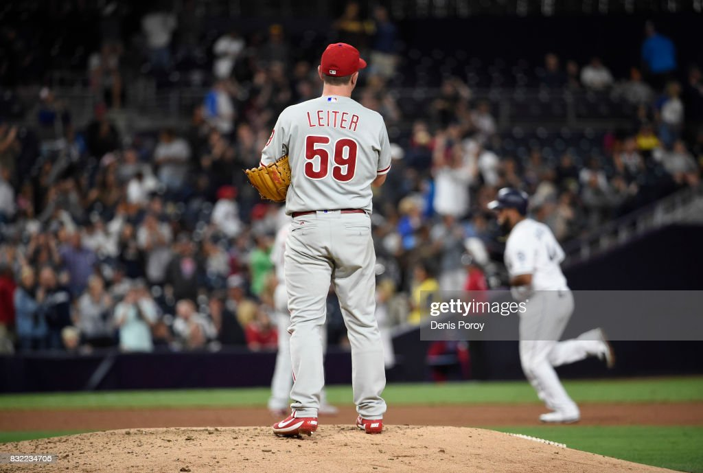 Mark Leiter Jr. #59 of the Philadelphia Phillies stands on the mound after giving up a two run home run to Hector Sanchez #44 of the San Diego Padres during the fifth inning of a baseball game at PETCO Park on August 15, 2017 in San Diego, California.