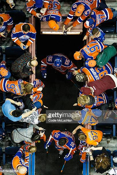 Mark Letestu and Nail Yakupov of the Edmonton Oilers come out to warm up before the game against the Vancouver Canucks on April 6 2016 at Rexall...