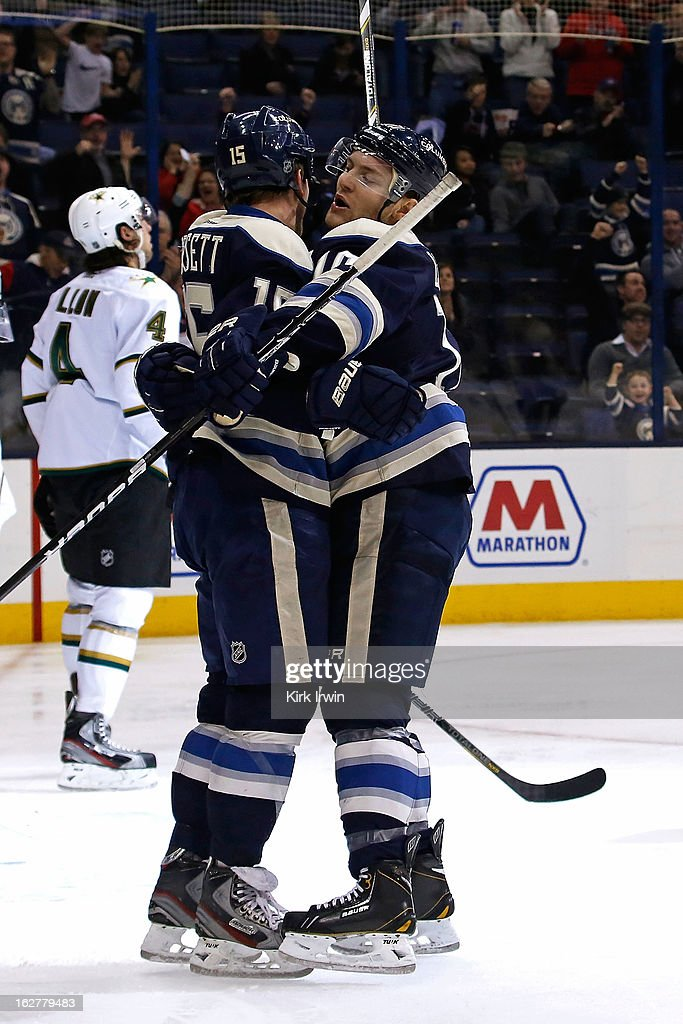 Mark Letestu #10 congratulates Derek Dorsett #15, both of the Columbus Blue Jackets, after he scored a goal during the second period on February 26, 2013 at Nationwide Arena in Columbus, Ohio.