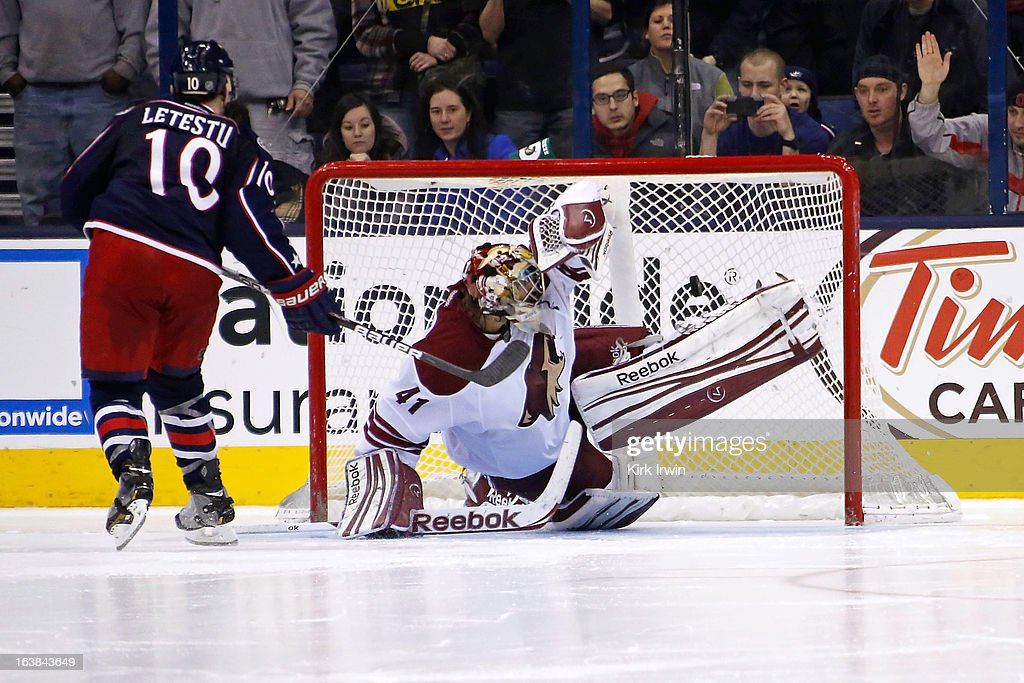 Mark Letestu #10 of the Columbus Blue Jackets beats Mike Smith #41 of the Phoenix Coyotes for the game wining goal during the shootout on March 16, 2013 at Nationwide Arena in Columbus, Ohio. Columbus defeated Phoenix 1-0 in a shootout.